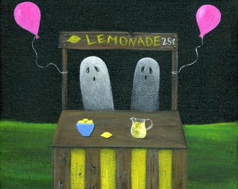 Original Painting Ghostade - 6x6 - Halloween Folk Art - 2 Ghosts sell 25 cent lemonade at stand with pink balloons - OOAK Acrylic on Canvas