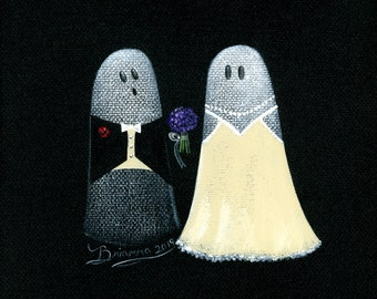 Original Painting Ghost Nuptials - 6x6 - Halloween Folk Art - Bride and Groom Getting Married in a Wedding Ceremony - OOAK Acrylic on Canvas