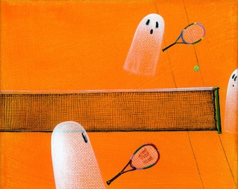 Original Painting Ghost Match - 6x6 - Halloween Folk Art - 2 Ghosts Playing Tennis with 1 Line Judge, rackets, ball - OOAK Acrylic on Canvas