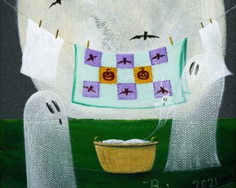 Original Painting Ghost Laundry - 6x6 - Halloween Folk Art - hanging their wears, pumpkin and bat quilt on the clothesline Acrylic on Canvas