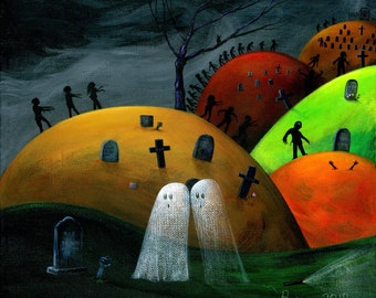 Ghost Walkers Giclée Archival Print - Paper or Canvas - Halloween Folk Art 2 Ghosts at graveyard watch zombies rise & stagger -Various Sizes