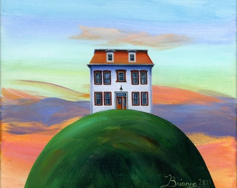 Original Painting Hilly This Old House by Brianna - 10x10 - A beautiful white house with an orange roof and a sunrise on the horizon