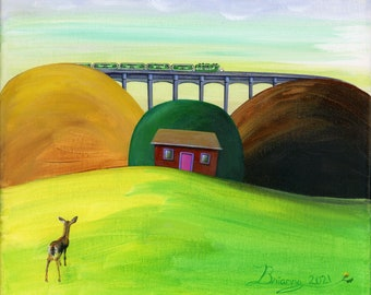 Hilly Hi Deer Giclée Archival Print - Canvas or Paper - A deer watches Go Train cross bridge in Halton Hills behind a house - Various Sizes