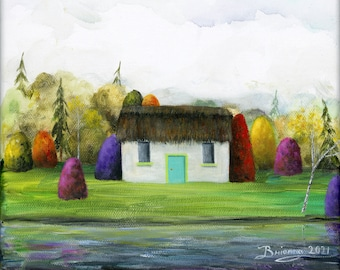 Original Painting Little Cottage Escape - 8x8 - Folk Art Lake Front Thatched Roof Irish Cottage teal door, colorful trees & water reflection