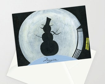 Snow Moon - Folk Art Winter Christmas Card w/ Snowman silhouette in front of a full moon on a winter night