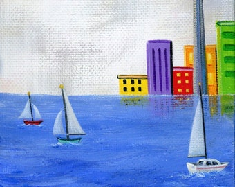 Original Painting Little Harbour Hideout by Brianna - 12x4 - Spring Summer folk art cityscape waterfront sailboats - OOAK Acrylic on Canvas