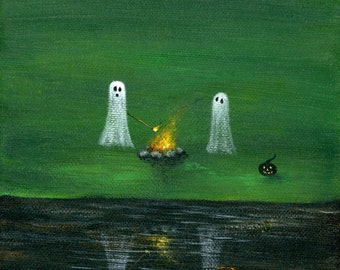 Ghost Roast Giclée Archival Print - Paper or Canvas - Halloween Folk Art Roasting marshmallows on the campfire with pumpkin - Various Sizes
