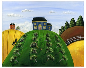 Hilly Heartland Giclée Archival Print - Paper or Canvas - Summer Folk Art with blue house, black horse & an apple orchard - Various Sizes