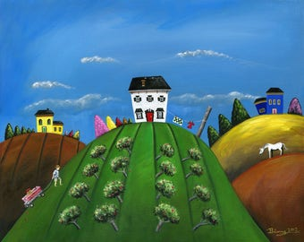 Hilly Hardwork Giclée Archival Print - Paper or Canvas - Summer Folk Art - blue, yellow, white houses, horse, apple orchard - Various Sizes