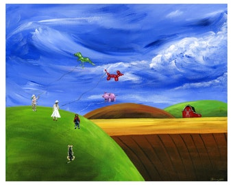 Hilly Helium Giclée Archival Print - Paper or Canvas - Colorful Folk Art w/ kids flying animal balloon kites on a windy day - Various Sizes