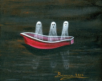 Ghosts on a Boat Giclée Archival Print - Paper or Canvas - Halloween Folk Art Ghosts Floating a red boat on the lake at night -Various Sizes
