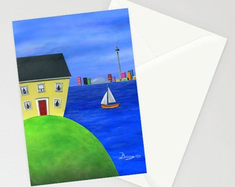 Hilly Hideout - Folk Art Greeting Card w/ an island perspective of Toronto across the lake