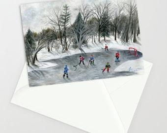 Credit River Dreams - Folk Art Heritage NHL Winter Classic Greeting Card w/ Original 6 teams outdoor pond hockey