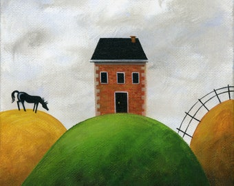 Original Painting Little Hilly House by Brianna - 6x6 - Spring Summer naive folk art red brick house black horse - OOAK Acrylic on Canvas