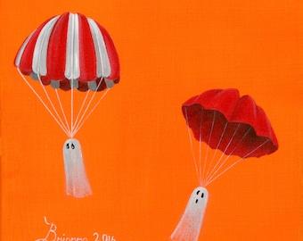 Ghost Chutes Giclée Archival Print - Paper or Canvas - Halloween Folk Art 2 Flying Ghosts Parachute across an Orange Horizon - Various Sizes