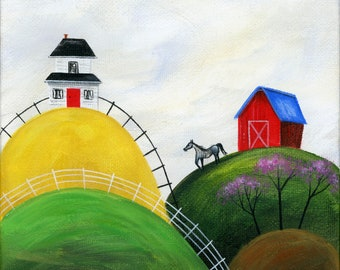 Original Painting Little Happy Hideaway by Brianna - 6x6 - Spring Summer folk art white house red barn grey horse - OOAK Acrylic on Canvas