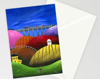 Hilly Hello - Folk Art Greeting Card with steam engine crossing the high bridge over a hilly country landscape with a deer peering back