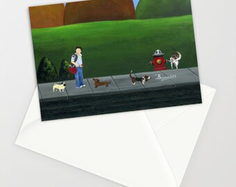Hilly Hold-up - Folk Art Greeting Card w/ Canada Postman and dogs near red fire hydrant