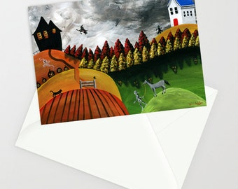 Hilly Haven - Folk Art Greeting Card - Hilly World with witch, mummy & horse