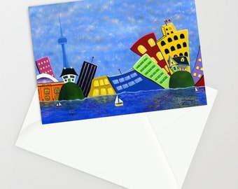 Hilly's Harbour Highlights - Folk Art Greeting Card - whimsical Toronto skyline in Summer