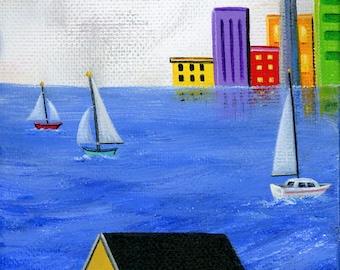 Little Harbour Hideout Giclée Archival Print - Paper or Canvas - Summer Folk Art cityscape Toronto waterfront sailboats lake - Various Sizes