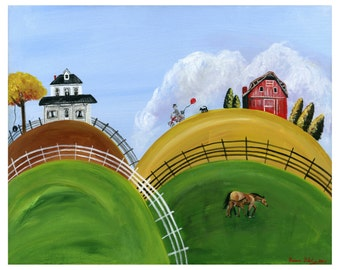 Hilly Happiness Giclée Archival Print - Paper or Canvas - Folk Art with man on a bike with a red balloon, mare and foal - Various Sizes