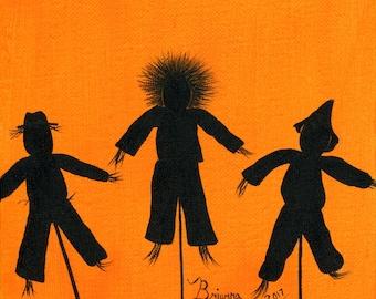 Original Painting These Three Scare - 6x6 - Halloween Folk Art - Black Orange Silhouette of 3 different scarecrows - OOAK Acrylic on Canvas