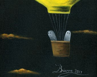 Ghost Up & Away Giclée Archival Print - Paper or Canvas - Halloween Folk Art 2 Ghosts travel in yellow hot air balloon basket -Various Sizes
