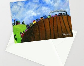 Hilly Humbly (train) - Folk Art Greeting Card - Antique Steam Engine with Red Caboose