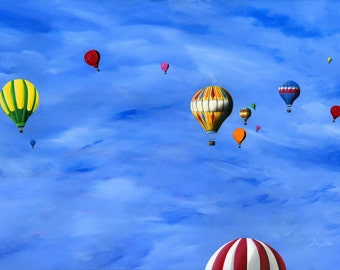 Hilly Hot Air Balloons Giclée Archival Print - Paper or Canvas - Summer Folk Art Balloon Festival Painting Canada Day Holiday -Various Sizes
