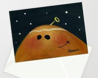 Peeking Ginger - Folk Art Winter Christmas Card w/ Gingersnap Cookie