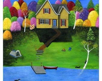 Little Bear Cottage Giclée Archival Print - Paper or Canvas - Various Sizes - Fall Cottage Folk Art