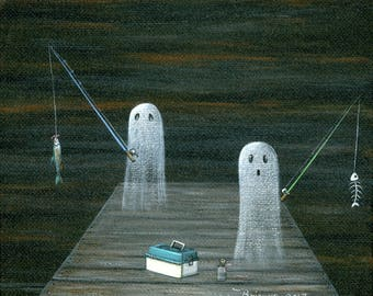 Ghost Catch of the Day Giclée Archival Print - Paper or Canvas - Halloween Folk Art 2 Ghosts fishing off the dock with worms - Various Sizes