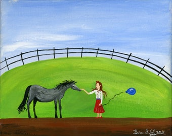 Blue Balloon Giclée Archival Print - Canvas or Paper - Various Sizes - Spring, Summer Folk Art Painting with Horse and girl in a Red Dress