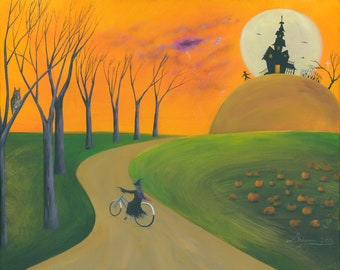 Hilly Hoot Giclée Archival Print - Paper or Canvas - Halloween Folk Art - Owl sees storm & witch bikeride to a haunted house - Various Sizes