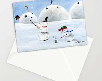 Hilly Hole in One - Folk Art Winter Christmas Card w/ Snowman and son playing Golf