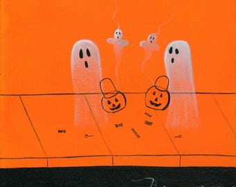 Ghost With the Most Giclée Archival Print - Paper or Canvas - Halloween Folk Art 2 Ghosts Comparing their trick r treat haul - Various Sizes