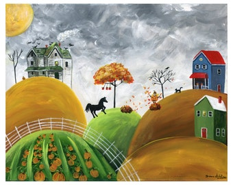 Hilly Halloween Giclée Archival Print - Paper or Canvas - Halloween Folk Art - Haunted House on a hill, pumpkin patch, horse - Various Sizes