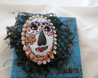 Seen and Noted tiny Day of the Dead Skully altered canvas free shipping!