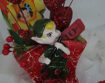 Vintage Valentine Arrangement, vintage pixie vase, vintage valentine,added valentine goodies
