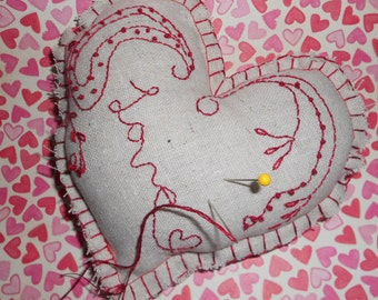 Love Embroidered Heart Pincushion Homespun Folk Altered Art