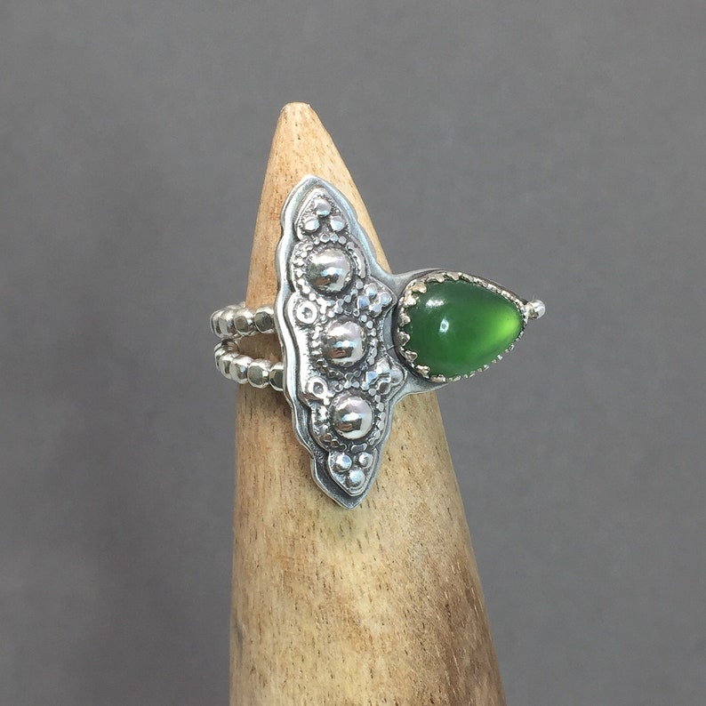Green Jade Statement Ring Vivid Color Genuine Jade Pear Gemstone Sterling Silver Large Boho Style OOAK Ready to Ship Fits Sizes 6.25 to 8