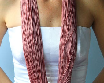 Long fiber necklace/Long pink necklace/Long silk necklace/Silk yarn necklace/Fiber art jewelry/Silk yarn necklace/wabi-sabi jewelry
