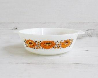 Vintage Pyrex Dish - Orange Sunflower Cooking Kitchenware Serving Milkglass