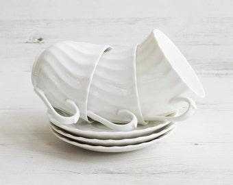 Vintage Teacup and Saucer Set - White Drinking Serving Display Tea Cake Pottery
