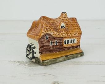 House Figurine Pottery - Small - Miniature - Ornament - Decoration - Brick - Cottage