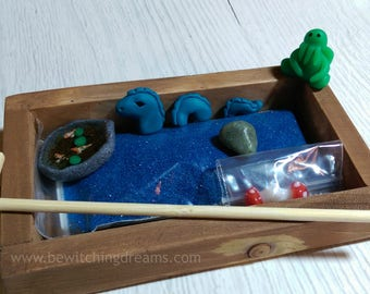 Desktop Zen Garden - with handsculpted miniature Nessie, Cthulhu & Koi Pond