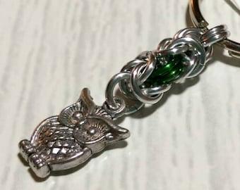 Adorable owl byzantine keychain