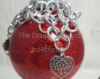 Chainmaille with Tree of Life Heart Charms- Red Ornament