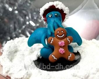 Peek-a-boo Itty Bitty Santa Cthulhu with Gingerbread Man